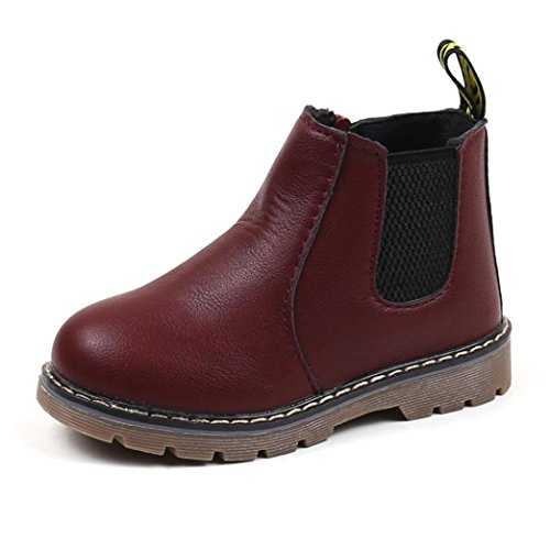 Casual Child Boots (Honhui Fashion Children Boys Girls Martin Boots Sneaker PU Leather Kids Casual Shoes (22(US:6.5), Wine))