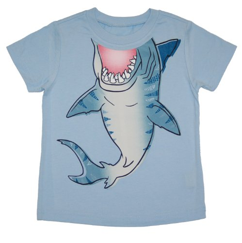 Peek-A-Zoo Toddler Become an Animal Short Sleeve T shirt - Shark Baby Blue (5T) ()