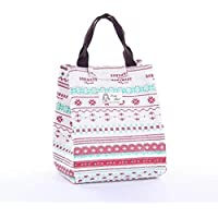 Lunch Bags Women Portable Functional Canvas Stripe Insulated Thermal Food Picnic Kids Cooler Lunch Box Bag Tote