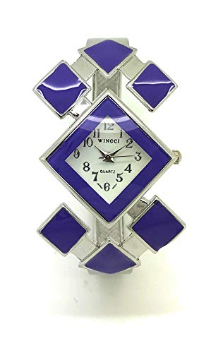 Ladies Stylish Casual Triangle Enamel Bangle Cuff Fashion Watch Wincci (Purple)
