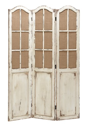 Deco 79 Simple and Elegant Folding Wooden Screen with Paneled Design by Deco 79