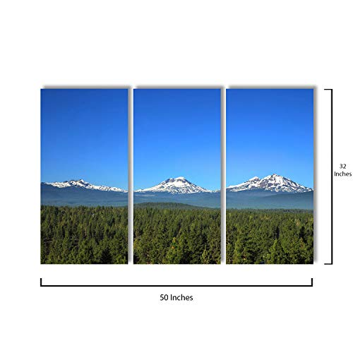 3 Piece Canvas Wall Art - Three Sisters Mountains in Oregon - Modern Home Decor Stretched and Framed Ready to Hang - 16