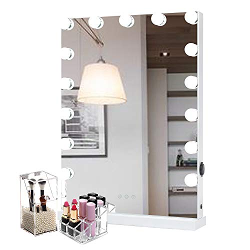 WAYKING Makeup Mirror with lights, Hollywood Vanity Mirror with Touch Screen Dimmer, USB Charging Port, 3 Color Lighting Modes, White (L18.9 X H22.8 inch) ...