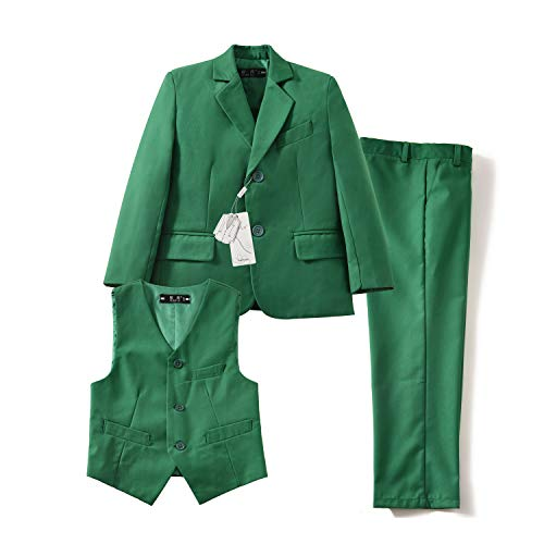 Yuanlu 3 Piece Suits for Boys Slim Fit Toddler Kids Tuxedo Set Green Size -
