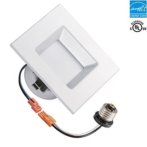 4-inch Square LED Recessed Retrofit Downlight, 5000k, 10w, 700 lumens, Day White, Square Lens, UL Classified, EnergyStar, Dimmable