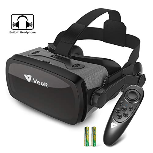 VeeR Falcon VR Headset with Controller, Eye Protection Virtual Reality Goggles to Comfortable Watch 360 Movies for Android, Samsung Galaxy S9 & Note 9, Huawei and iPhone XR & Xs Max ()