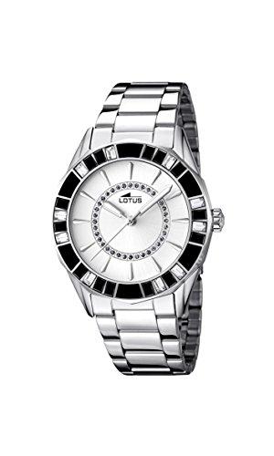 Lotus-Reloj-de-cuarzo-para-mujer-con-blanco-esfera-analgica-pantalla-y-pulsera-de-acero-inoxidable-Plata-158911