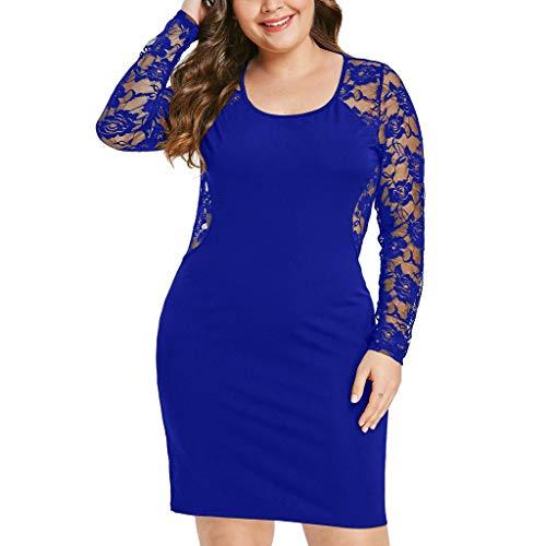 Women's Print Dress Lace Plus Size Solid Long Sleeve Color Panel Dress Size XL-5XL (XXL, Blue)