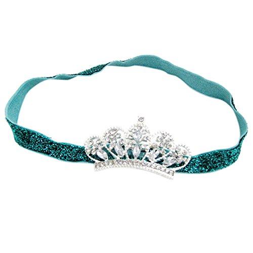 ESTD Baby Girl Princess Rhinestone Crown Headband Tiara Photography Props - Green