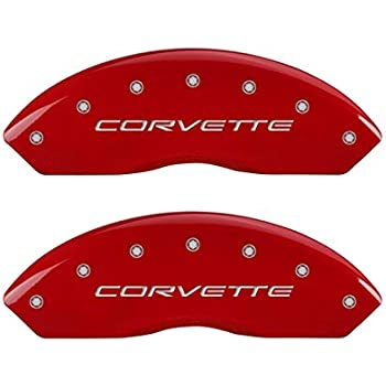 MGP Caliper Covers 13007SCV5RD, Caliper Cover Compatible with Corvette C5,  Logotype with Red Powder Coated Finish and Silver Characters, 4 Pack