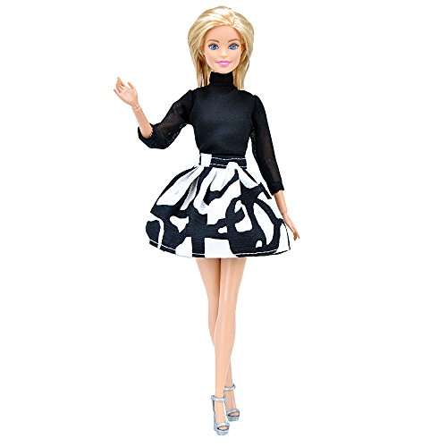 E-TING Handmade Fashion Doll Clothes Black Chiffon High Collar Shirt + Mini Short Skirt Office Style Wears Dress for Barbie -