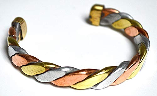 Powerful Healing Copper bracelet - Three color twisted copper bands - Medicine/Healing Bracelet for Arthritis Golf Sport Aches & Pains from Nepal - Thickness approx .5 inch - US -