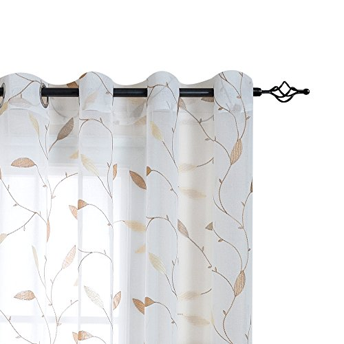 White Sheer Curtains for Living Room Floral Leaf Embroidery Voile Curtains for Bedroom Embroidery Semi-Sheer Curtains Grommet Curtains, 55 Width x 84 Length