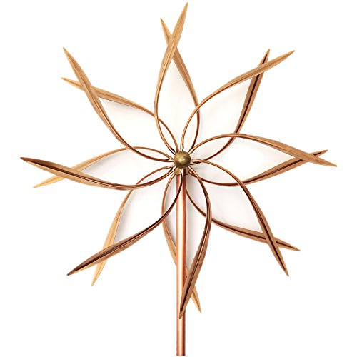 Premium Quality Copper Modern Kinetic Wind Sculpture, Large Windmill Handcraft Double Sided Wind Spinners, Skinny Leaves Design (Fast Shipping) ()