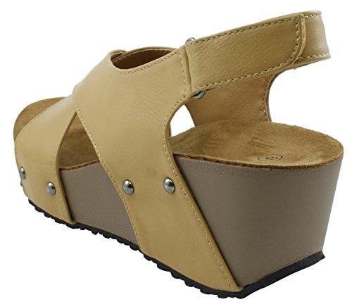 Cambridge Utvalda Womens Öppen Tå Dubbade Kors Och Tvärs Strappy Slingback Plattform Wedge Sandal Beige
