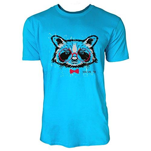 SINUS ART ® Waschbärenkopf mit roter Brille und Fliege Herren T-Shirts in Karibik blau Cooles Fun Shirt mit tollen Aufdruck