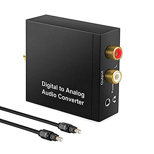 Usee Digital to Analog Converter DAC Digital SPDIF Toslink Optical Coax to Analog Stereo Audio L/R Converter Adapter with Optical Cable 3.5mm Jack Output for PS3 PS4 HDTV Blu Ray DVD Sky HD Xbox 360