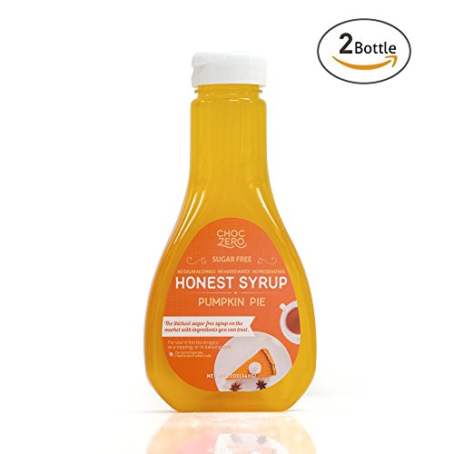 Honest Syrup, Pumpkin Pie Spice Sauce. Sugar free, Low Carb, No preservatives. Thick and Rich. Sugar Alcohol free, Gluten Free, Dessert and Breakfast Topping. 2 Bottles(2X12oz)