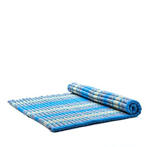 Leewadee Roll-Up Thai Mattress, 79x59x2 inches, Guest Bed Yoga Floor Mat Thai Massage Pad XL Twinsize Eco-Friendly Organic and Natural, Kapok, Light Blue