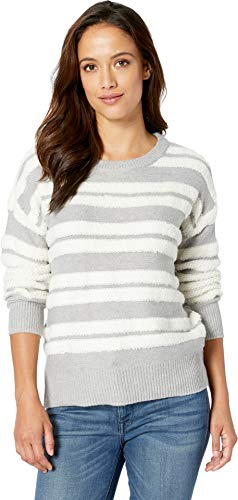 Two by Vince Camuto Women's Long Sleeve Loop Stripe Crew Neck Sweater Light Heather Grey ()