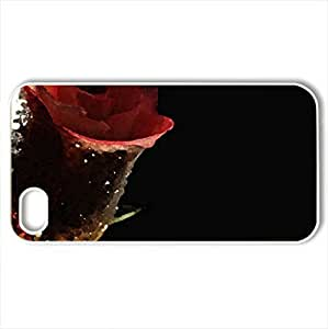 The Rose - Case Cover for iPhone 4 and 4s (Flowers Series, Watercolor style, White)