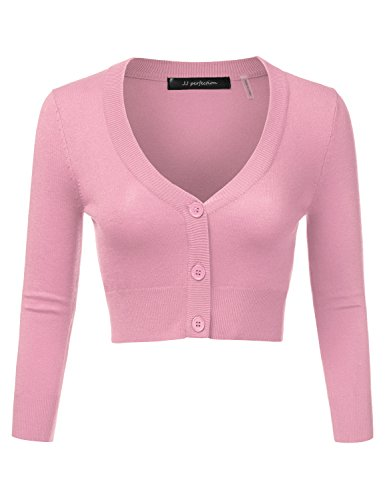 Women's Solid Woven Button Down 3/4 Sleeve Cropped Cardigan LIGHTPINK S