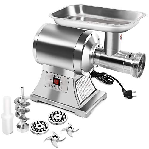 Giantex Electric Meat Grinder, 1.5HP 1100W Meat Mincer with 2 Cutting Plates & 2 Cutting Blade, for Home Kitchen & Commercial Use, Stainless Steel