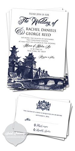 Customized wedding invitations/Wedding Invitation Cards/Navy Blue/ Set of 10