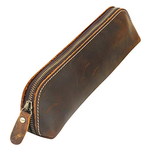 BestFire Vintage Leather Pencil Case, Pencil Bag Pouch with Zipper Pen Holder Handmade Genuine Leather Stationary Case for Students Businessmen and Artists Home Work (Best Bestfire® Office Desks)
