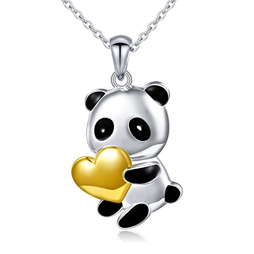 Sterling Silver Cute Panda Bear Pendant Necklace for Women Teen Girls, - Pendant Sterling Bear