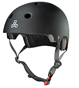 Triple Eight 3036 Dual Certified Helmet, X-Small/Small, All Black Rubber