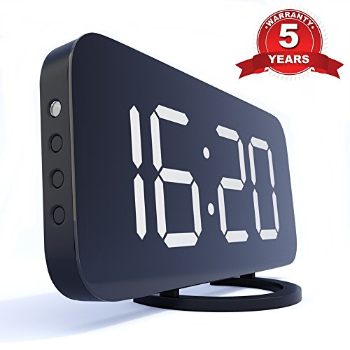 TrendHolders Digital Alarm Clock - Night Light with Large 6.5 Easy-Read LED Display with Dimmer - Best Electric Clock - Snooze Function - Mirror Surface - USB Charging