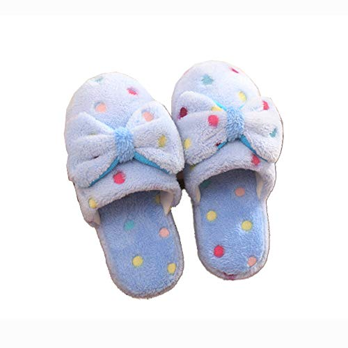 Shoes Fashion House Slipper Toe Women Scuff Plush Slippers Blue Dot Closed Bow qxEawvOET