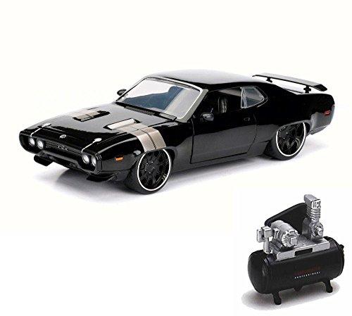 mpressor Package - Dom's Plymouth GTX, Black - Jada 98292 - 1/24 Scale Diecast Model Toy Car w/Air Compressor ()