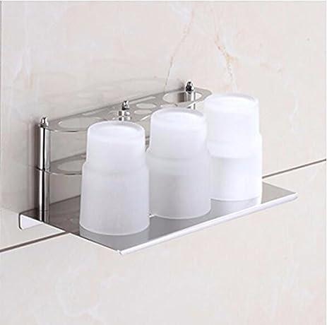 304 Stainless Steel Bathroom Multifunctional Toothbrush Cup Holders Storage  Racks Wall Mount Hair Dryer Rack DiTu85cL