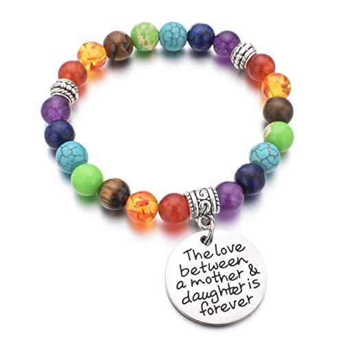 DYJELWD Mother Bracelet 7 Chakra Beads Healing Stretch Bracelet The Love Between a Mother and Daughter is Forever (Mother and Daughter Bracelet)