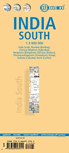Laminated India South Map by Borch (English, Spanish, French, Italian and German Edition) (South India Map)