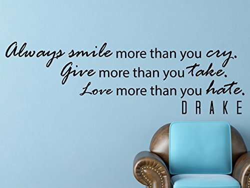 My Vinyl Story Drake Always Smile Inspirational Motivational Wall Decal Quote Art for Home Bedroom Living Room Decor 42x13