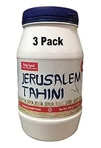 3PACK JERUSALEM Tahini Paste (3X17.6 oz). 100% Natural, Vegan Friendly & Kosher Pure Ground Tahina Sauce. Raw Roasted Sesame Seeds for Oriental Dips, Salad Dressings & Hummus