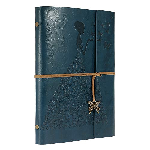 Leather Journal, MaleDen Vintage Spiral Bound Notebook Refillable Dairy Sketchbook Travel Journal to Write in with Blank Pages for Women Girls Gifts (A5, Deep Blue) by MALEDEN (Image #3)