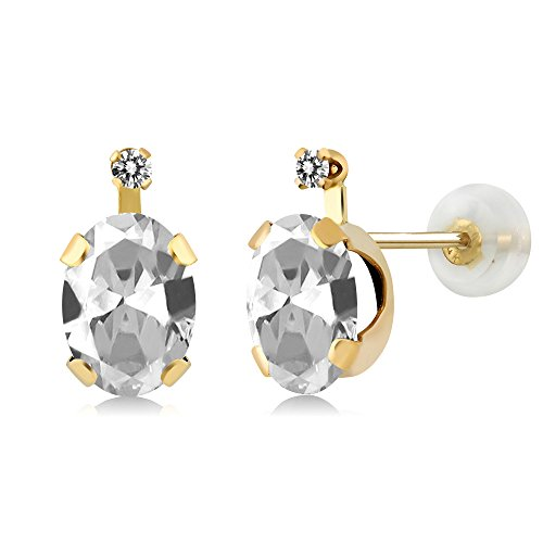 1.91 Ct Oval White Topaz White Diamond 14K Yellow Gold Earrings (Earrings Si2 Si1)
