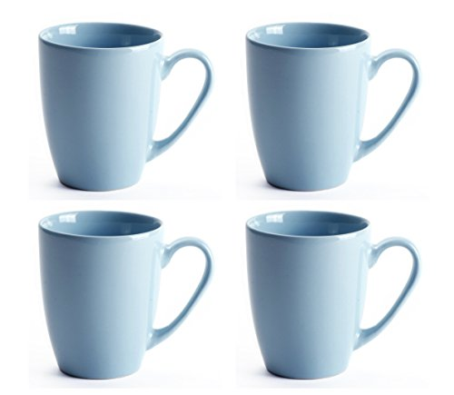 LEANDALE 12 OZ Ceramic Coffee Mug Tea Milk Cup Set of 4,Multi Solid Colour (Light ()
