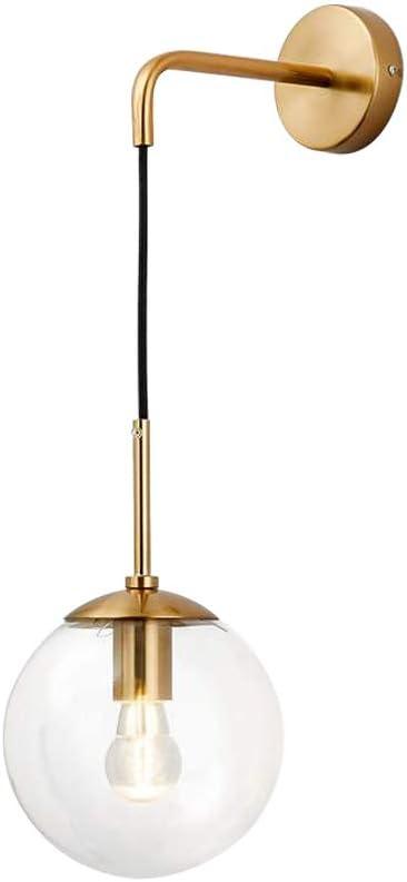 BOKT Mid Century Modern Wall Mounted Sconce Light Minimalist Adjustable Brass Ball Glass Fixture Reading Lamp (Clear Glass)