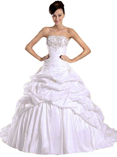 RohmBridal Women's Strapless Taffeta Ball Gown Wedding Bridal Dress Ivory Size 30