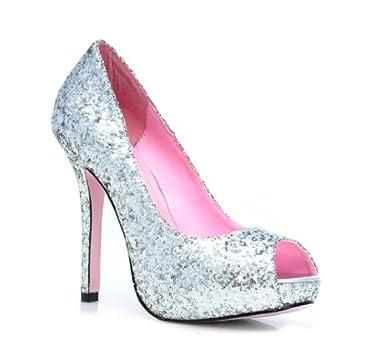277dc403f Ella Glitter Womens 5 quot  Silver Peep Toe Pumps ...