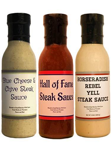 (Premium | Best Selling STEAK SAUCE | Variety 3 Pack | Hall of Fame Steak Sauce | Blue Cheese & Chive Steak Sauce | Horseradish Rebel Yell Steak Sauce)
