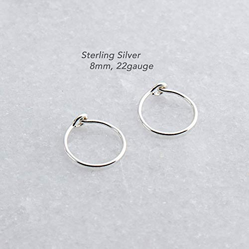 Extra Small and Thin Sterling Silver Hoop Earrings Handmade for Small and thin Earlobes SS-CL-R-D8MM-22GA- Shiny
