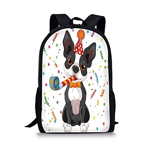 School Bags Birthday Decorations for Kids,Black and White Boston Terrier with Colorful Party Backdrop,Multicolor for Boys&Girls Mens Sport Daypack