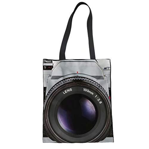 SANNOVO Camera 3D Print Linen Tote Bag Women Girl Travel Shoulder Handbags