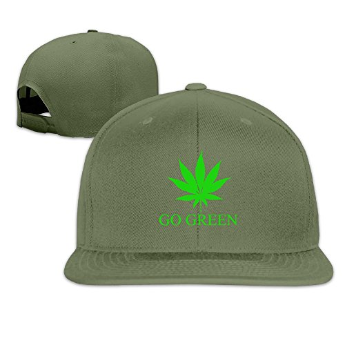 Go Green Weed Unisex Causal Fitted Flat Bill Boarder Cap For Men And Women